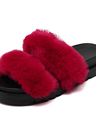Women's Slippers & Flip-Flops Fall Slingback Fur Casual Platform Others Black / Red / Gray Others