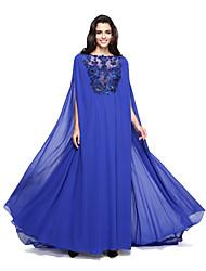 TS Couture® Formeller Abend Kleid - Transparent A-Linie Bateau - Linie Pinsel Schleppe Georgette mit Applikationen / Perlstickerei