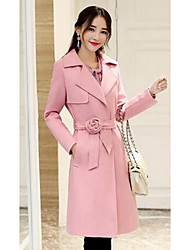 Women's Going out / Casual/Daily Simple Coat,Solid Long Sleeve Spring / Fall Pink / Purple Polyester Medium