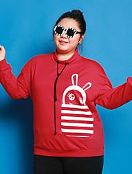 Feminino Camiseta Casual / Tamanhos Grandes Fofo Inverno,Estampado Vermelho / Preto Algodão / Elastano Colarinho Chinês Manga Longa