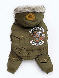 Dog Coat / Hoodie Green / Gray Dog Clothes Winter / Spring/Fall Solid Fashion / Keep Warm