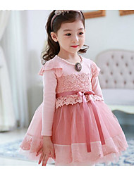 Girl's Casual/Daily / Sports Solid Dress,Cotton / Lace / Mesh Winter / Fall Long Sleeve