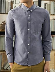 Men's Wedding / Work Vintage / Street chic Shirt,Solid Shirt Collar Long Sleeve Blue Cotton