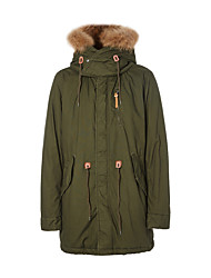 Metersbonwe  Men's Long Padded CoatStreet chic Casual/Daily Solid-Polyester Without Filling Material Long Sleeve Hooded Green