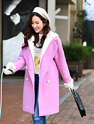 Women's Going out / Casual/Daily / Holiday Cute / Street chic / Sophisticated CoatSolid Notch Lapel Long Sleeve Fall / Winter Wool