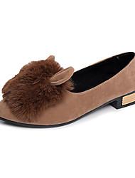 Women's Heels Fall Winter Comfort PU Casual Chunky Heel Black Gray Khaki Other