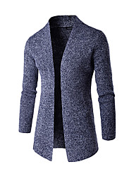 Men's Work Casual/Daily Simple Regular Cardigan,Solid Blue Gray Green Stand Long Sleeve Polyester Fall Winter Medium Micro-elastic