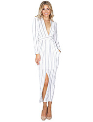 Women's Fine Stripe|Boho Wrap Long Sleeve Striped Dress