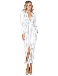 Women's Wrap Long Sleeve Striped Dress