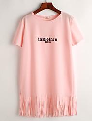 Tee Shirt Robe Aux femmes Décontracté / Quotidien simple,Imprimé Col Arrondi Au dessus du genou Manches Courtes Rose / Blanc / Noir