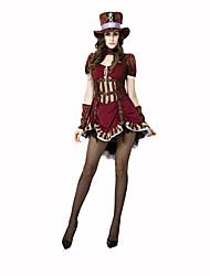 Burlesques/Clown Fête / Célébration Déguisement Halloween Marron Imprimé Robe / Gants / ChapeauHalloween / Noël / Carnaval / Le Jour des
