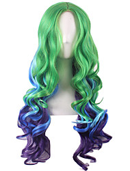 Capless Long Medium Side Bang Synthetic Wigs for Women Ombre Color Green Blue Purple Costume Wigs Cosplay Wigs Heat Resistant with Free Hair Net