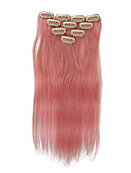10 Clips 18Inch 10Pcs Clip In Human Hair Extensions 32g Ombre Highlighted Straight Hair