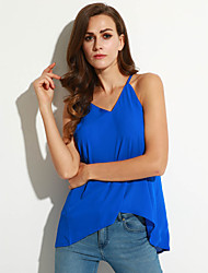 Women's Going out Street chic Criss-Cross Backless Chiffion Tank Top,Solid Strap Sleeveless
