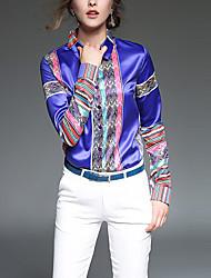 Chemise Femme,Imprimé Décontracté / Quotidien simple Toutes les Saisons Manches Longues Col de Chemise Bleu / Rouge Polyester Moyen