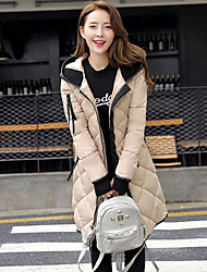 Women's Long Down Coat,Street chic / Sophisticated Work / Sports Solid-Special Leather Types White Goose Down Long Sleeve HoodedBlue /