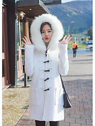 Women's Casual/Daily / Work Cute Coat,Solid Hooded Long Sleeve Winter White Wool Medium