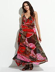 Mulheres Vestido Swing Sensual / Boho Floral Longo Com Alças Poliéster