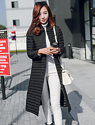 Women's Long Down Coat,Simple Formal Check-Polyester White Duck Down Long Sleeve Round Neck Red / Black / Gray