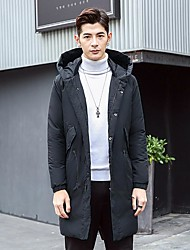 Men's Long Padded Coat,Vintage / Street chic Wedding / Work Solid-Cotton Cotton Long Sleeve Hooded Black