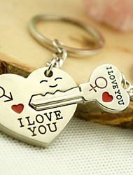 Stainless Steel Wedding Keychain Favors-2 Piece/Set Couples Keychains Non-personalised Heart Key Design Valentine's Day