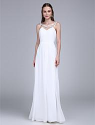 2017 lanting robe-parole longueur bride® mousseline demoiselle d'honneur - bretelles spaghetti avec perlage / drapage