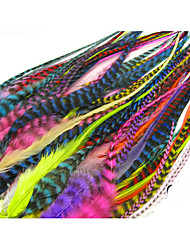 Women's Straight Multicolour Grizzly Rooster Feather Hair Extensions