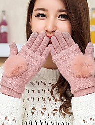 Women's Mittens Rabbit Fur Lamb Fur Fingertips Wrist Length Cute Winter Gloves
