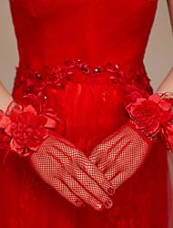Wrist Length Fingertips Glove Knit Bridal Gloves Spring / Summer / Fall / Winter Bow