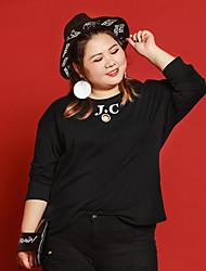 Tee-shirt Femme,Lettre Décontracté / Quotidien / Grandes Tailles simple Automne Manches ¾ Col Arrondi NoirPolyester / Nylon / Spandex /