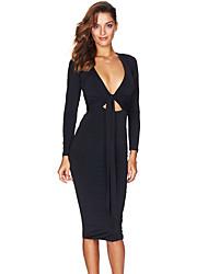 Women's Black Multi-way Deep V Neck Knot Tie Long Sleeve Midi Dress