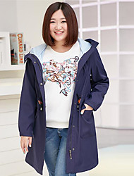 MsShe Women's Plus Size / Casual/Daily Simple Trench CoatSolid Hooded Long Sleeve Fall Blue / Pink Polyester Medium