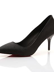 Women's Heels Spring Fall Platform PU Outdoor Dress Black Metallic Royal Blue Walking