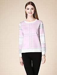 Damen Kurz Pullover-Lässig/Alltäglich Einfach Gestreift Rosa Rundhalsausschnitt Langarm Polyester Winter Mittel Mikro-elastisch