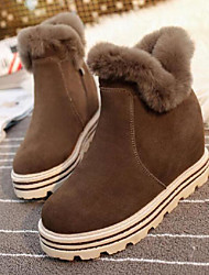 Women's Boots Other Fur Suede Casual Platform Black Brown Walking