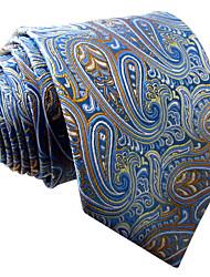 Mens Necktie Tie Laight Blue Paisley 100% Silk Business Fashion Dress For Men