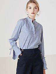 MASKED QUEEN Women's Casual/Daily Simple Spring ShirtStriped Stand Long Sleeve Blue Cotton Medium