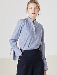 Feminino Camisa Social Casual Simples Primavera,Listrado Azul Algodão Colarinho Chinês Manga Longa Média