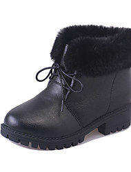 Women's Boots Winter Platform Leather Fur Casual Chunky Heel Black Gray Walking