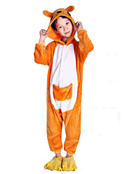 Kigurumi Pajamas Kangaroo Leotard/Onesie Festival/Holiday Animal Sleepwear Halloween Yellow Patchwork Polar Fleece Kigurumi For Kid
