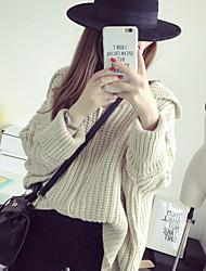 Damen Standard Pullover-Ausgehen Lässig/Alltäglich Urlaub Einfach Solide Gelb Rundhalsausschnitt Langarm Polyester Herbst Winter Mittel