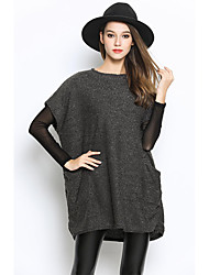 Women's Going Out  All Match Solid Round Collar Loose Pullover Short Sleeve