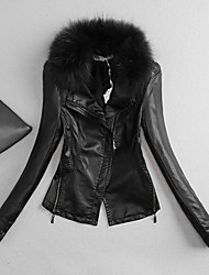 Women's Going out / Casual/Daily / Holiday Simple Leather Jackets,Solid Long Sleeve Fall / Winter Black Polyester Medium