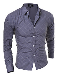 Men's Going out / Beach / Holiday Sexy / Cute / Street chic Fall Shirt,Striped Shirt Collar Long Sleeve Blue / Black / Gray Polyester