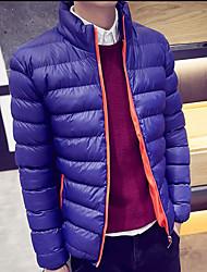Пальто Простое Обычная На подкладке Мужчины,Однотонный Большие размеры Хлопок Хлопок,Длинный рукав Клубный воротник Синий / Черный
