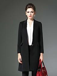 Damen Solide Retro Lässig/Alltäglich Mantel,Winter Gekerbtes Revers Langarm Blau / Gelb Mittel Baumwolle / Polyester
