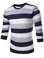 Herren Standard Pullover-Ausgehen Einfach Gestreift Blau Rot V-Ausschnitt Langarm Kunst-Pelz Frühling Dünn Mikro-elastisch