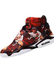 Men's Sneakers Spring / Fall Comfort PU Casual Flat Heel Magic Tape Black / Red Walking