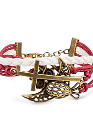 Women's Wrap Bracelet Leather Bracelet Bracelet Loom Bracelet Leather Alloy Punk Cross Red Jewelry 1pc
