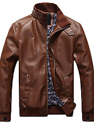 Men's Plus Size / Casual/Daily Simple Leather JacketsSolid Stand Long Sleeve Fall / Winter Black / Brown PU Thick k336